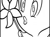 Tweety Blowing Flowers Coloring Page