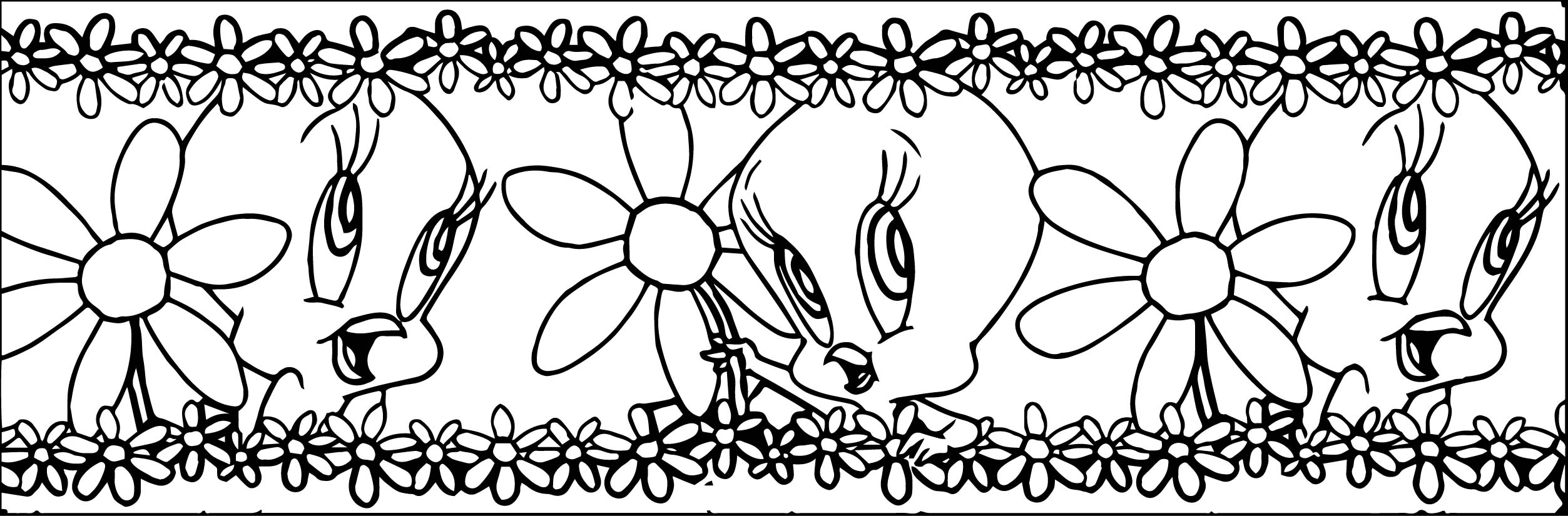 Tweety Border Coloring Page