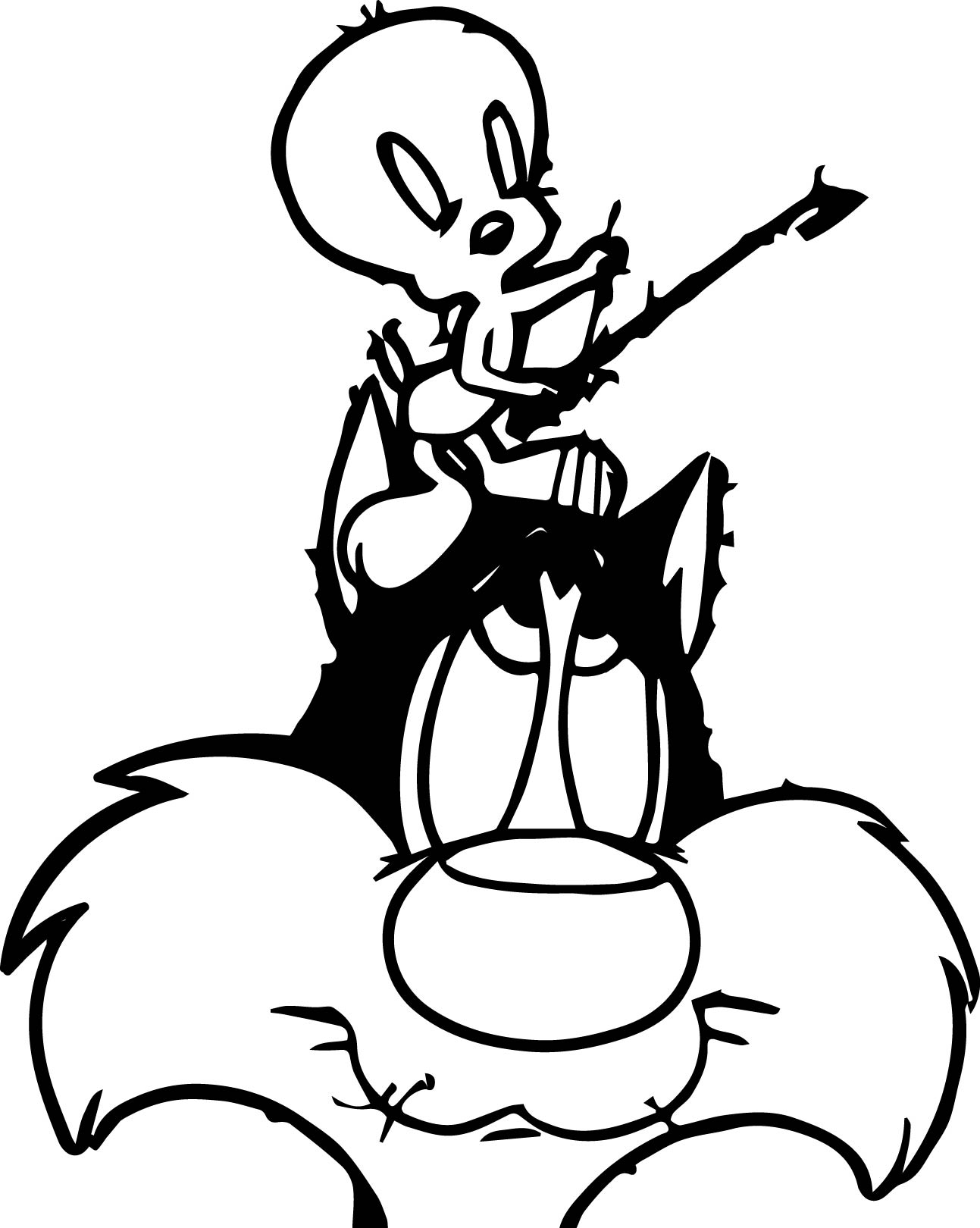Tweety Cat Music Coloring Page