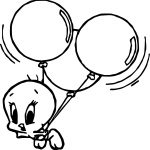 Tweety Flying Balloon Coloring Page