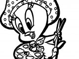 Tweety Painter Bird Coloring Page