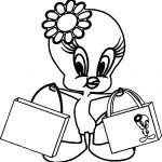 Tweety Shopping Coloring Page