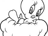 Tweety Waiting On Cloud Coloring Page
