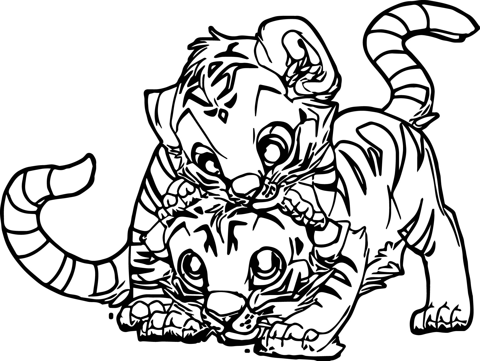 Two baby tiger coloring page for Coloring pages of tiger