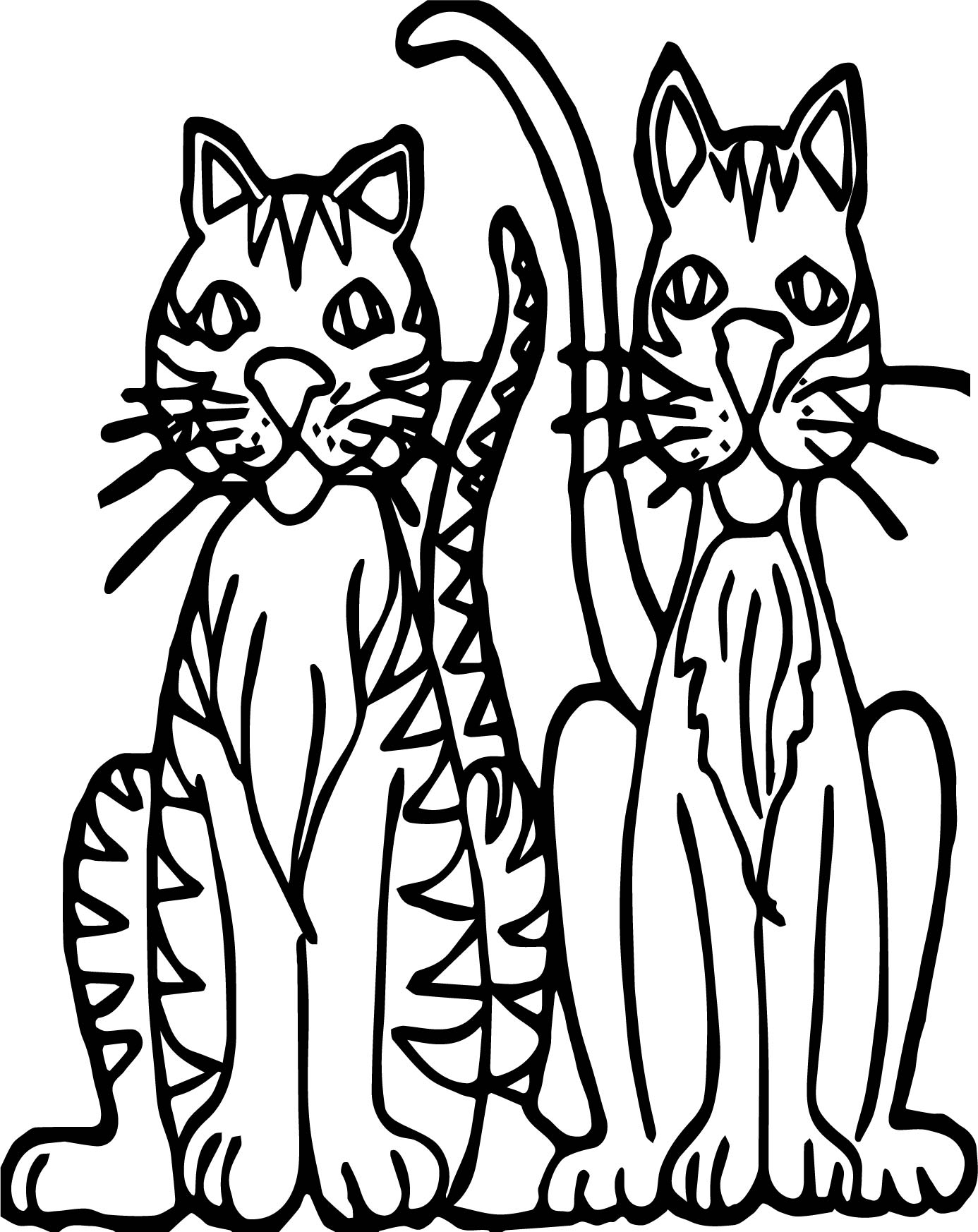 Two Cat Tiger Coloring Page