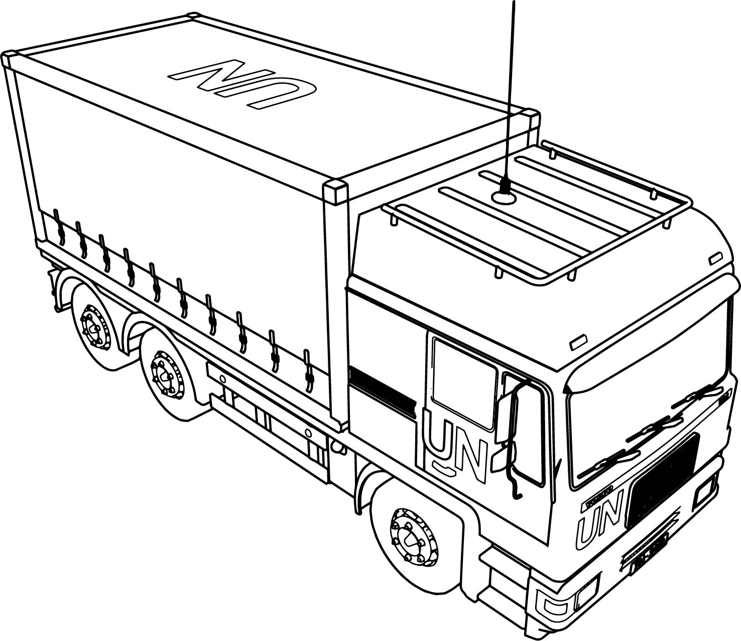 volvo th5 onu military truck coloring page wecoloringpage