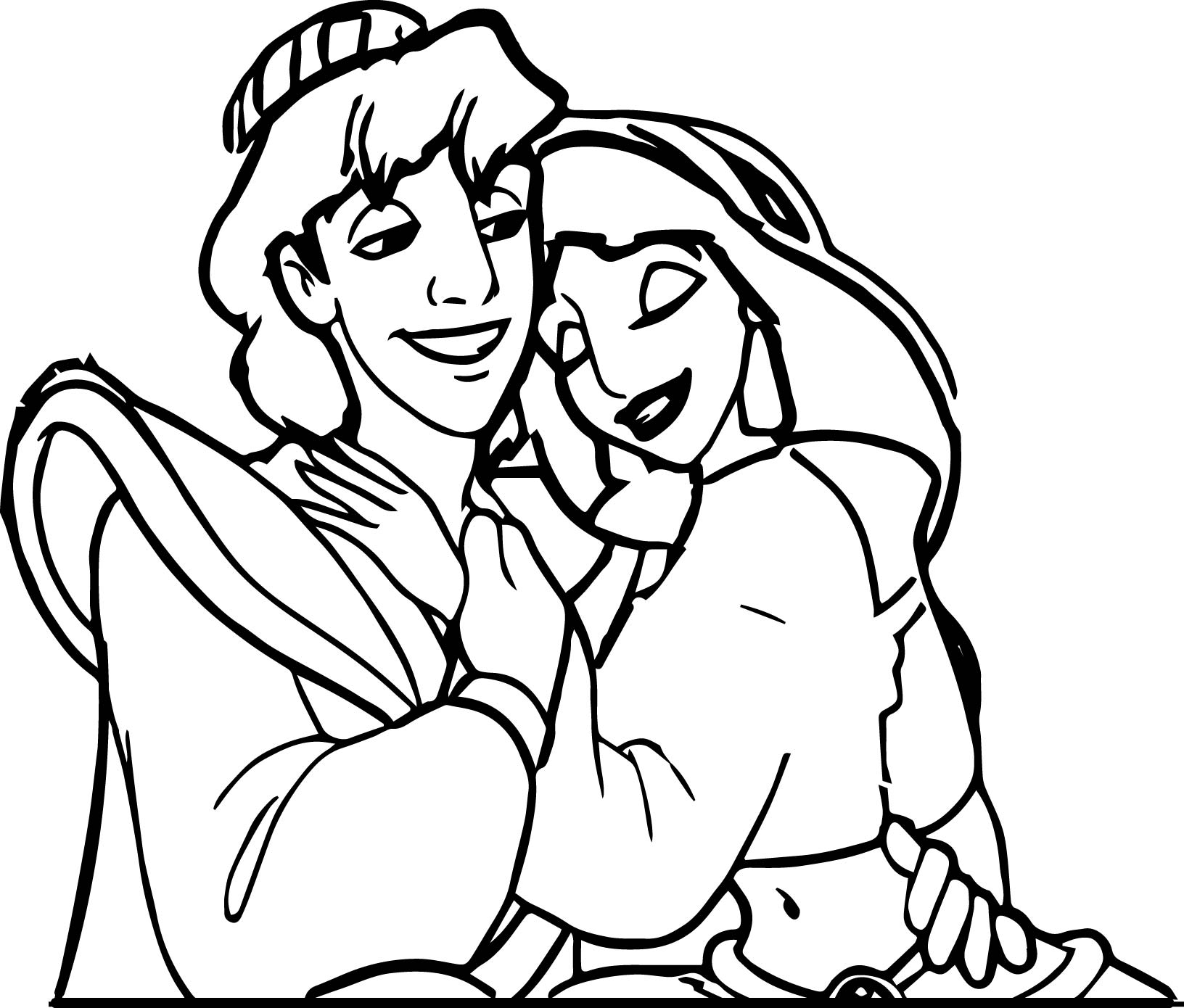 Walt Disney Prince Aladdin Characters Jasmine Is Alive Coloring Page
