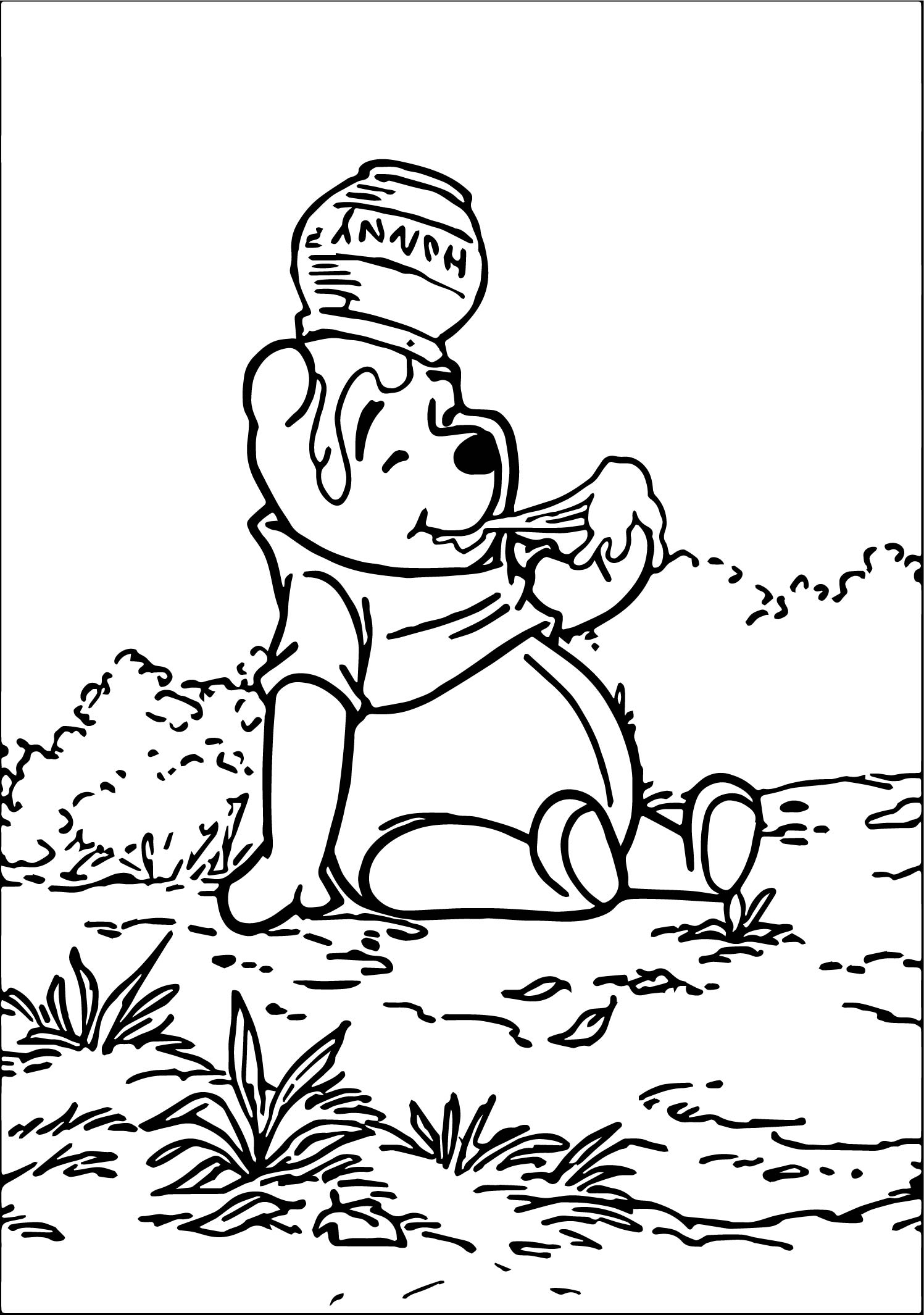Winnie The Pooh Eat Hunny Coloring Page