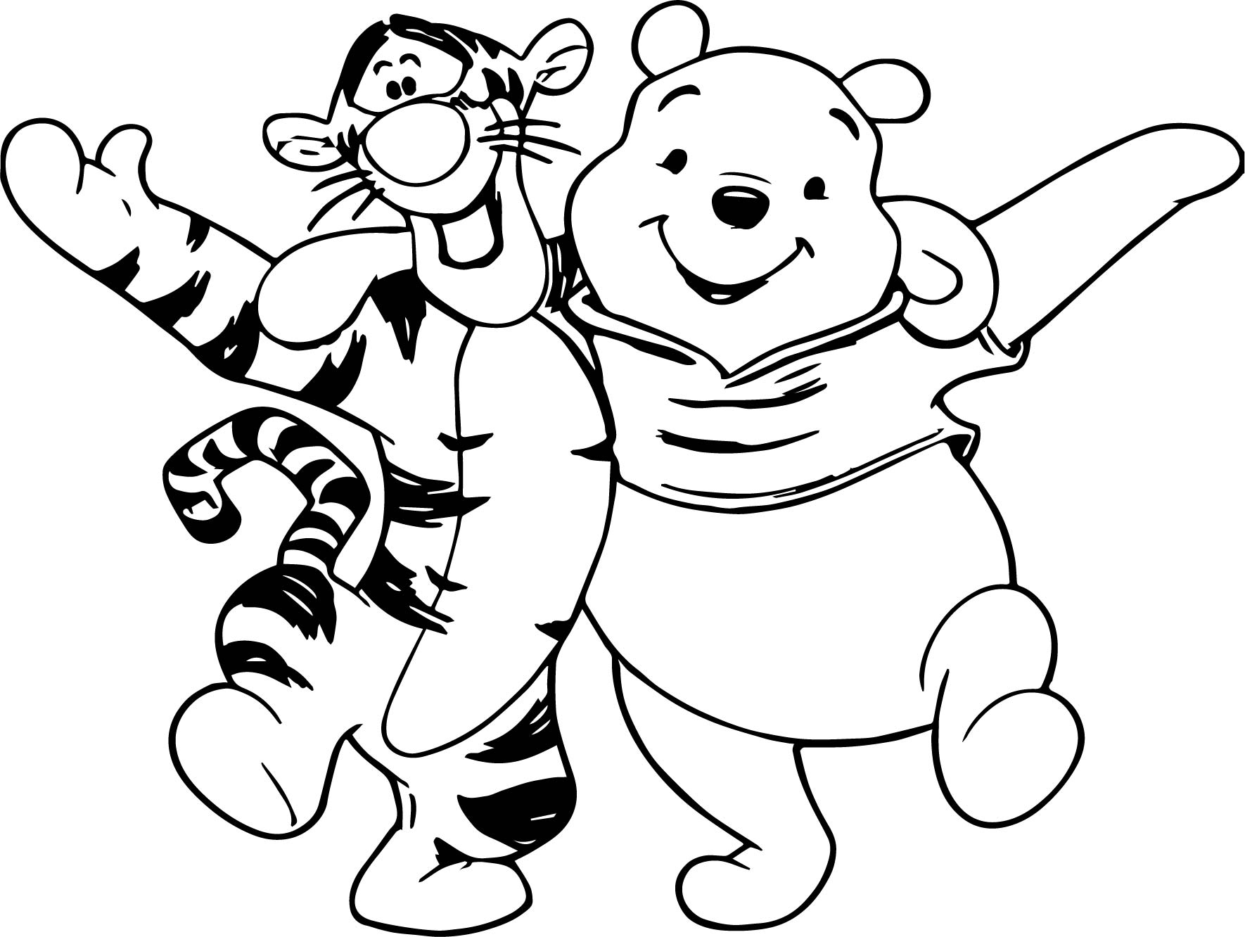 Winnie The Pooh Friend Together Coloring Page