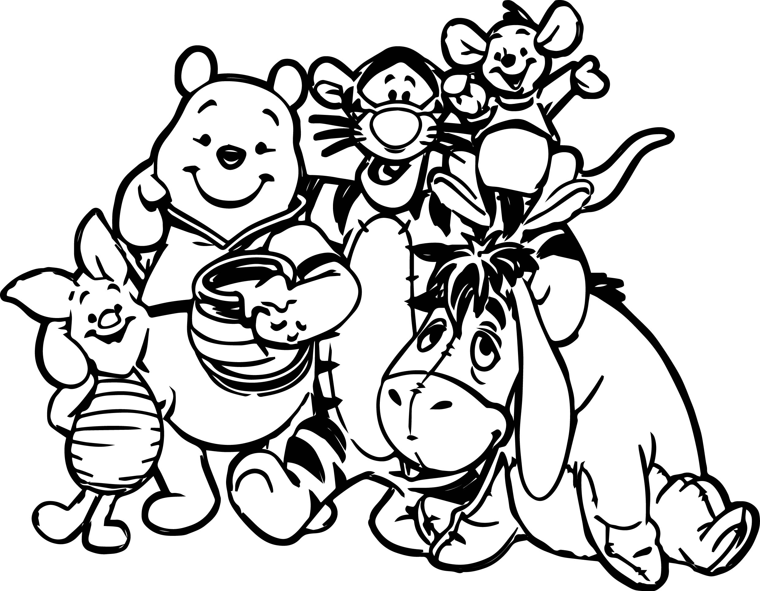 Winnie The Pooh Friends Coloring Page