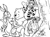 Winnie The Pooh Friends Play Coloring Page
