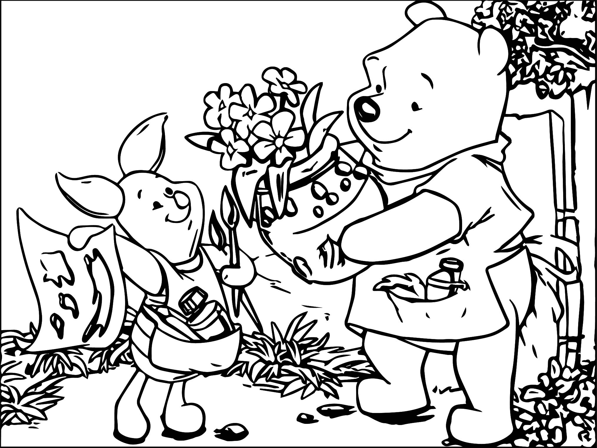 winnie the pooh honey gift coloring page wecoloringpage