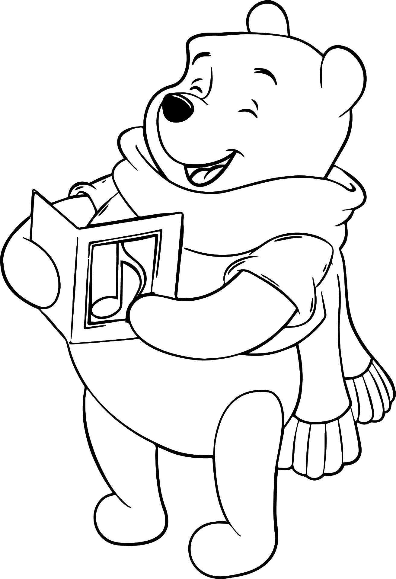 Winnie The Pooh Music Coloring Page