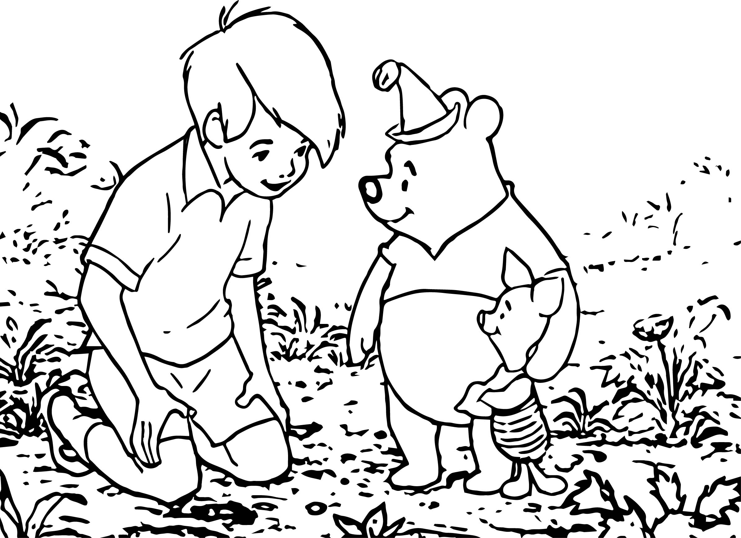 Winnie The Pooh Party Coloring Page
