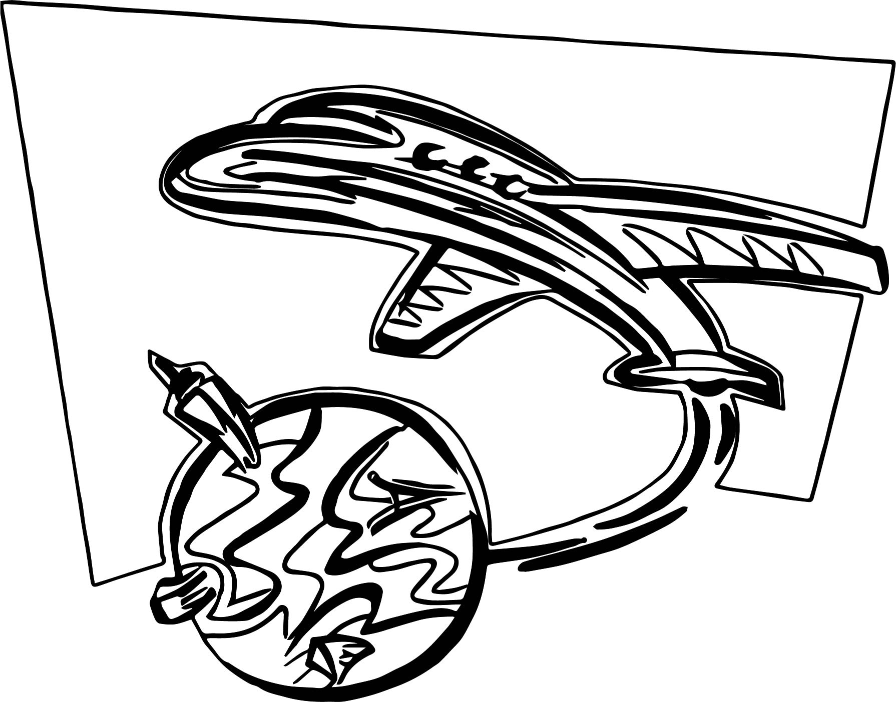 World Out Airplane Coloring Page