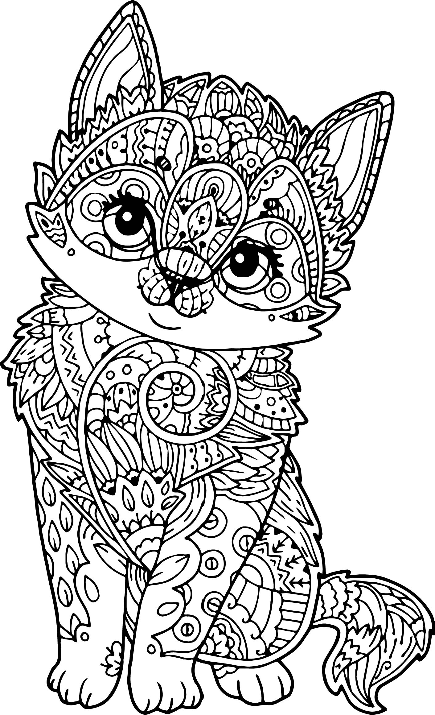 Adult mandala cat puppy coloring page for Adult coloring pages mandala