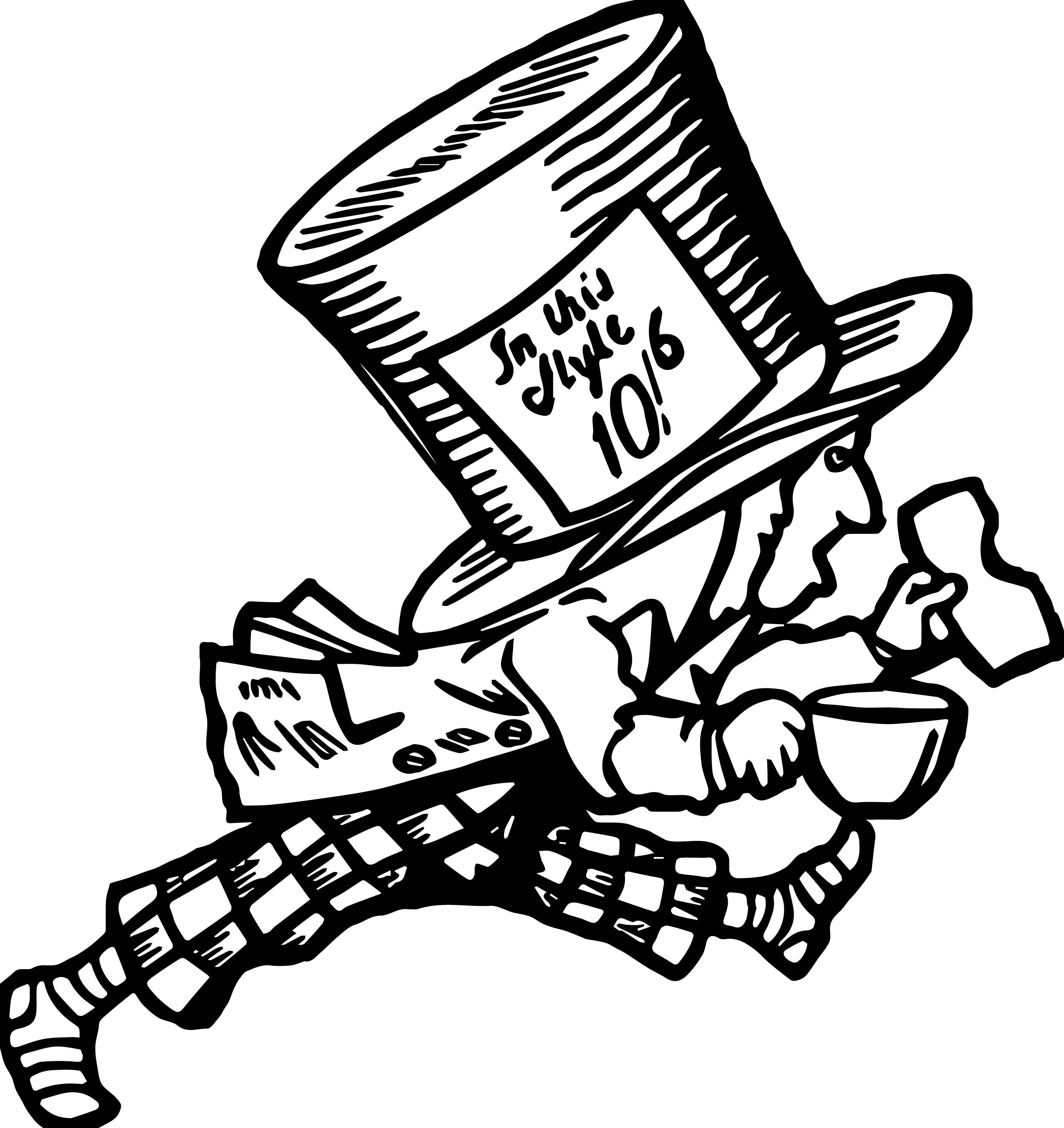 Alice In The Wonderland In This Style Coffee Man Coloring Page
