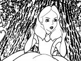 Alice In The Wonderland Stay On Tree Coloring Page