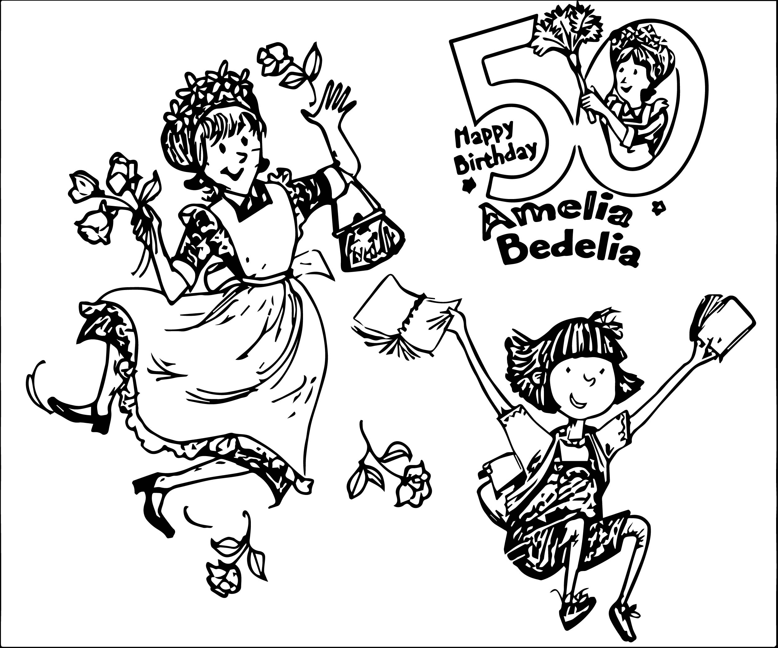 amelia bedelia coloring pages images for adults | Amelia Bedelia Happy Birthday Coloring Page ...