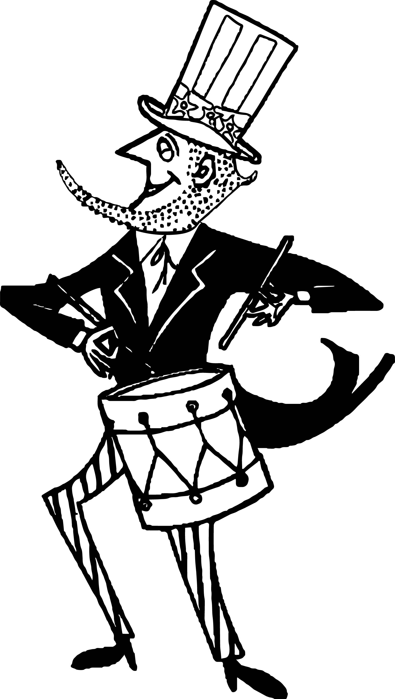 American Revolution Uncle Sam American Patriotic Drummer Coloring Page