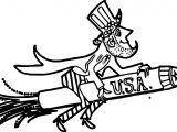 American Revolution Uncle Sam American Patriotic Rocket Firework Rider Coloring Page
