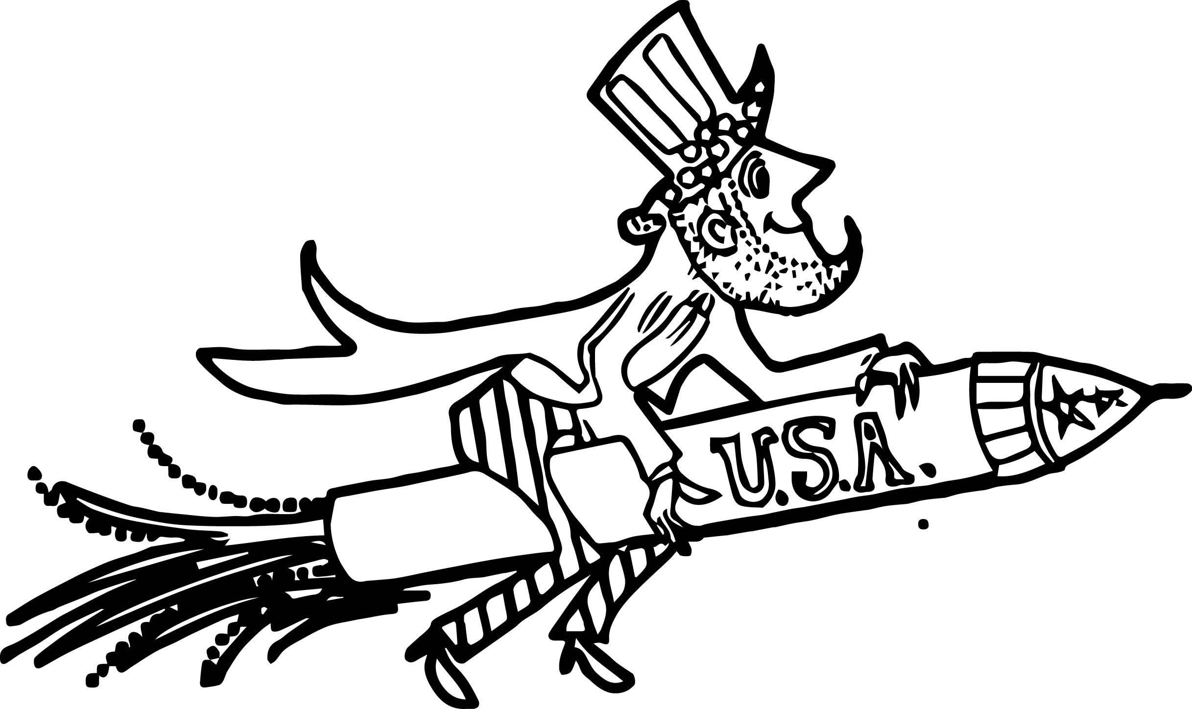 American Revolution Uncle Sam American Patriotic Rocket Firework Rider Coloring Page