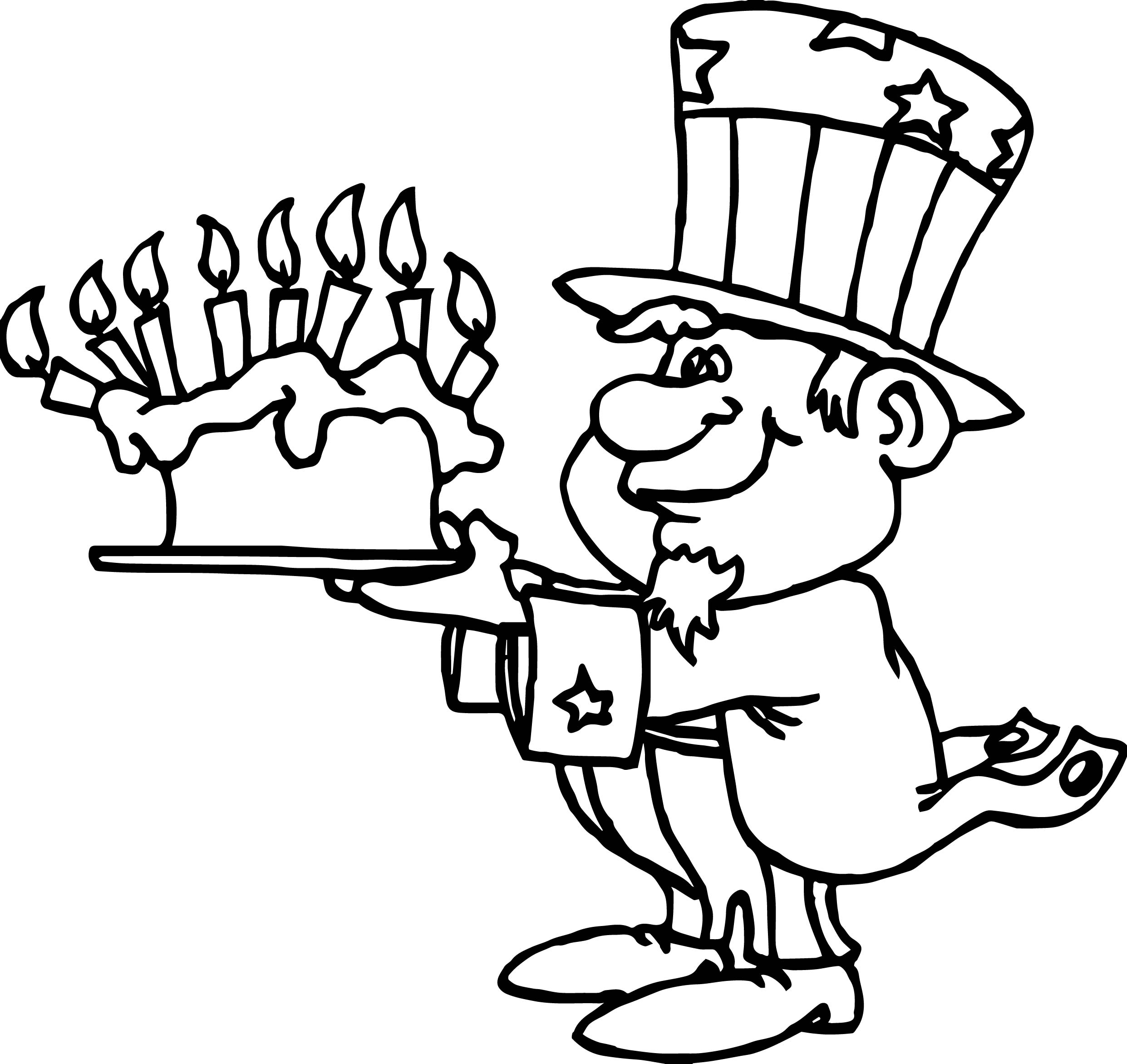 American Revolution Uncle Sam Happy Birthday America Cake Coloring Page