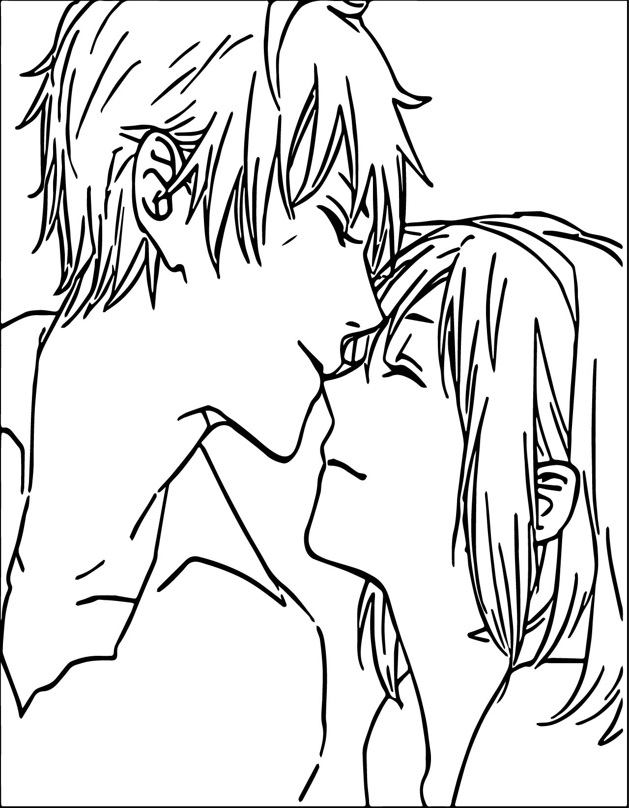 Anime Boy And Girl Couple Love Coloring Page | Wecoloringpage.com