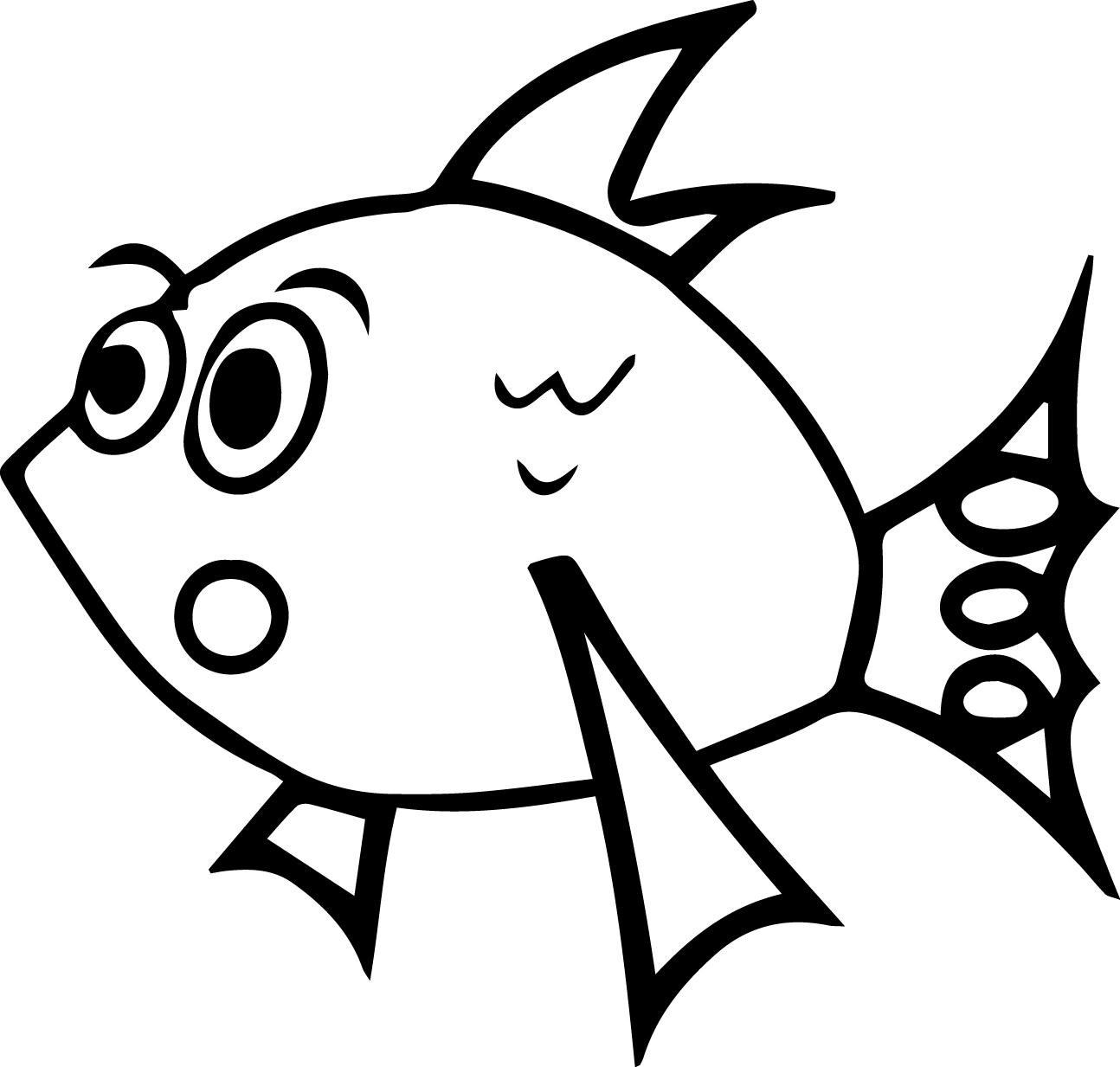 Be Suprised Cartoon Fish Coloring Page Sheet