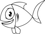 Big Eye Cartoon Fish Coloring Page Sheet