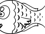 Big Head Cartoon Fish Coloring Page Sheet
