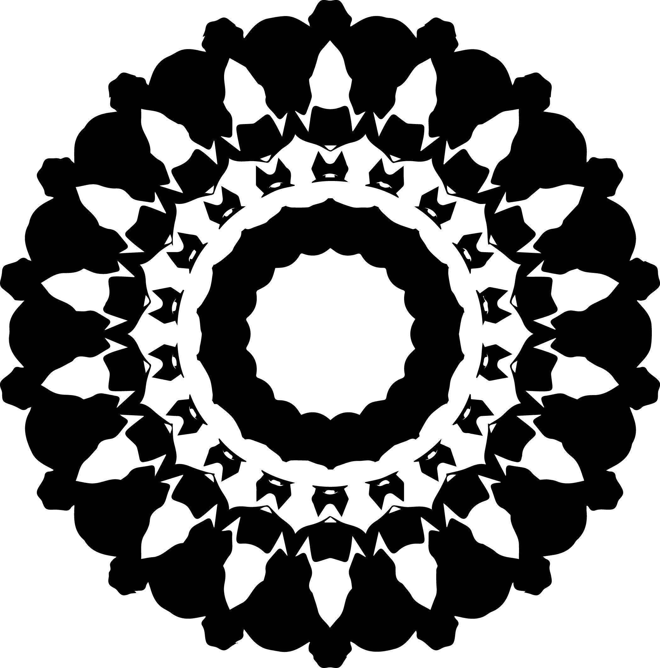 Black Easy Mandala Coloring Page