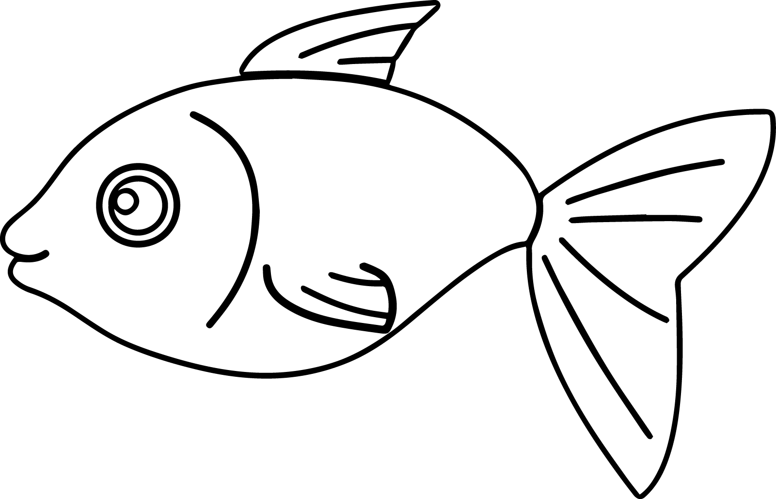 cartoon basic fish coloring page sheet - Fish Coloring Pages