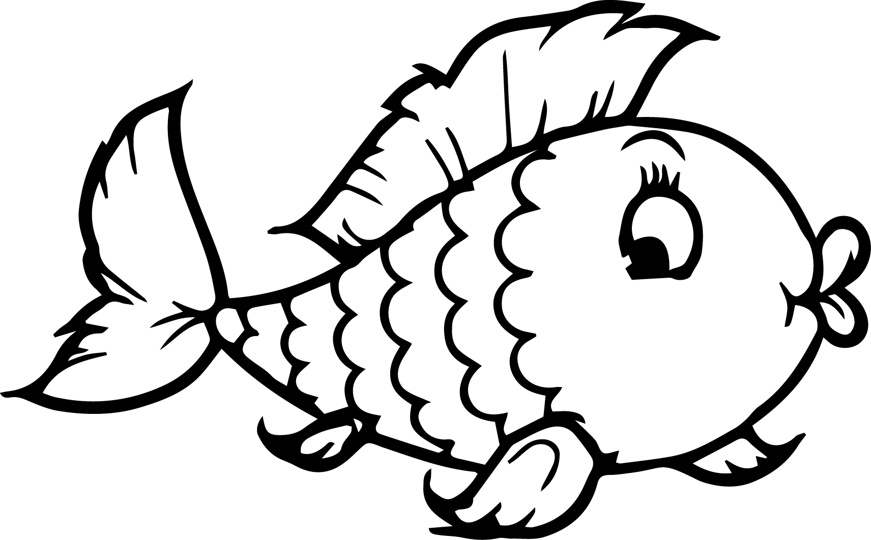 Cartoon fish girl coloring page sheet for Adult fish coloring pages