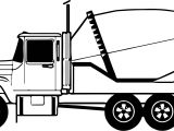Cement Truck Line Coloring Page