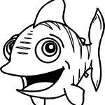 Coming Cartoon Fish Coloring Page Sheet