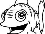 Coming Cartoon Fish Coloring Page Sheet
