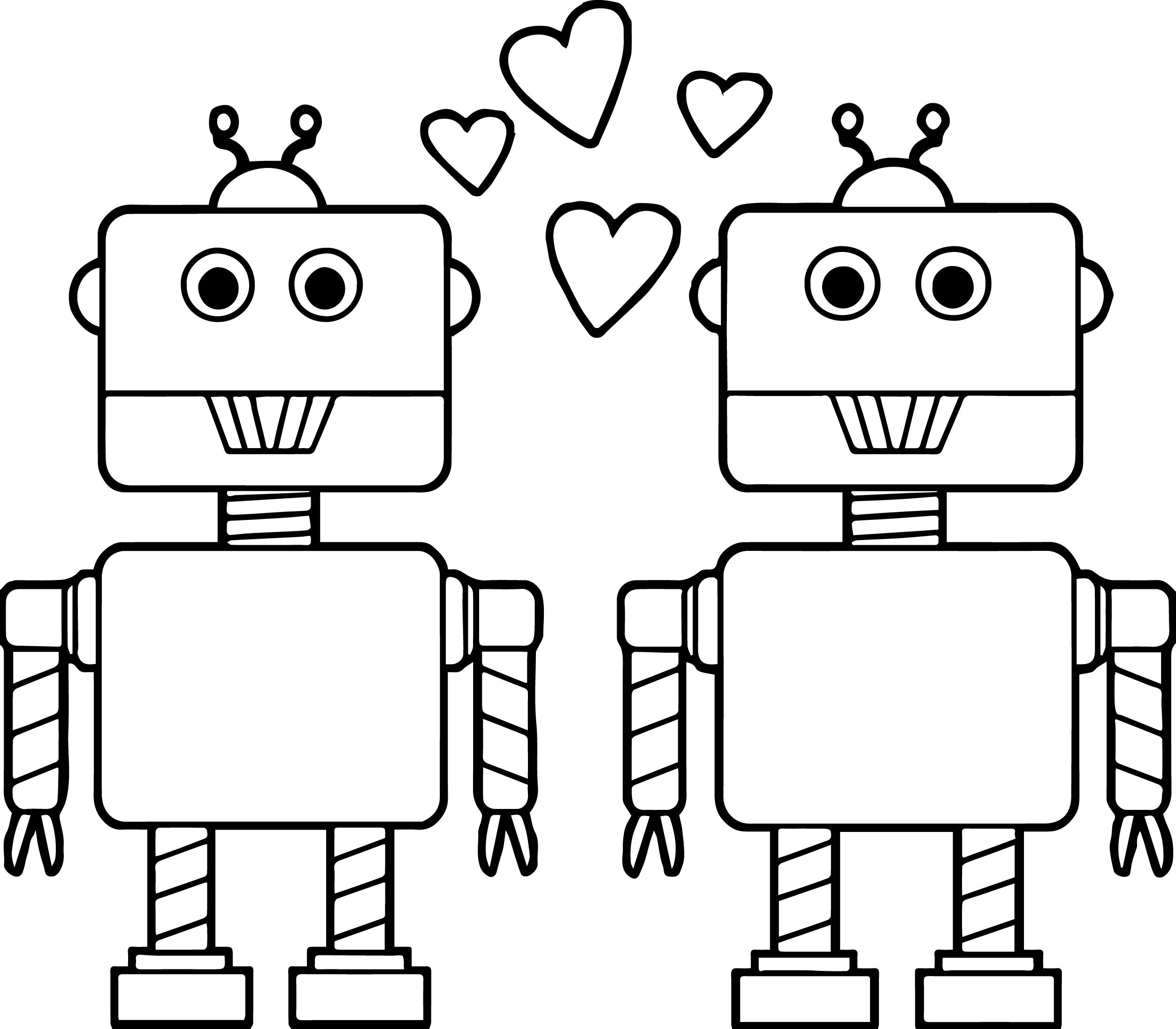 Couple Robot Coloring Page