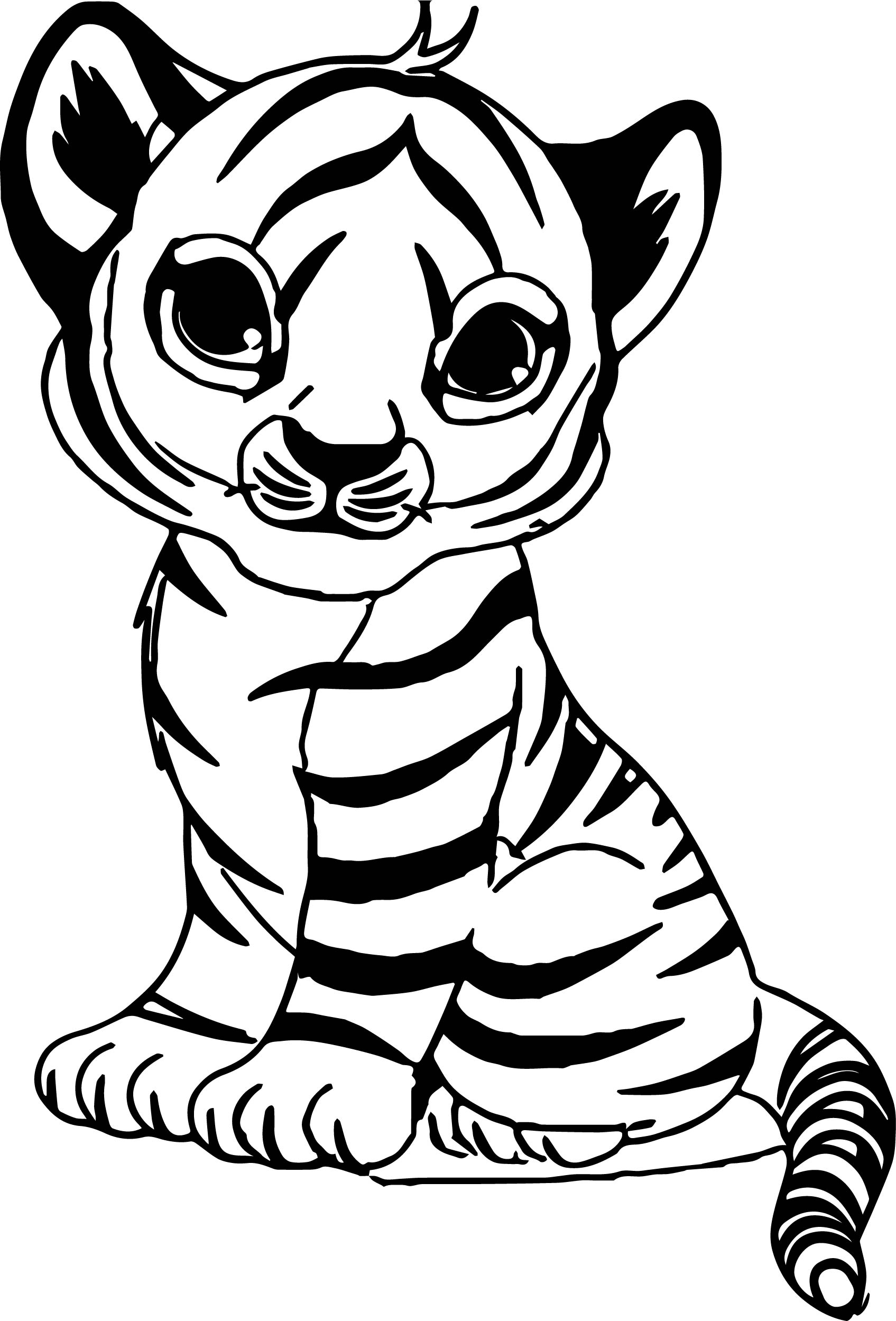 Cute baby tiger coloring page for Coloring pages of tiger