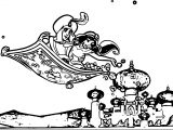 Disney Movies Aladdin And Jasmin Fly Coloring Page