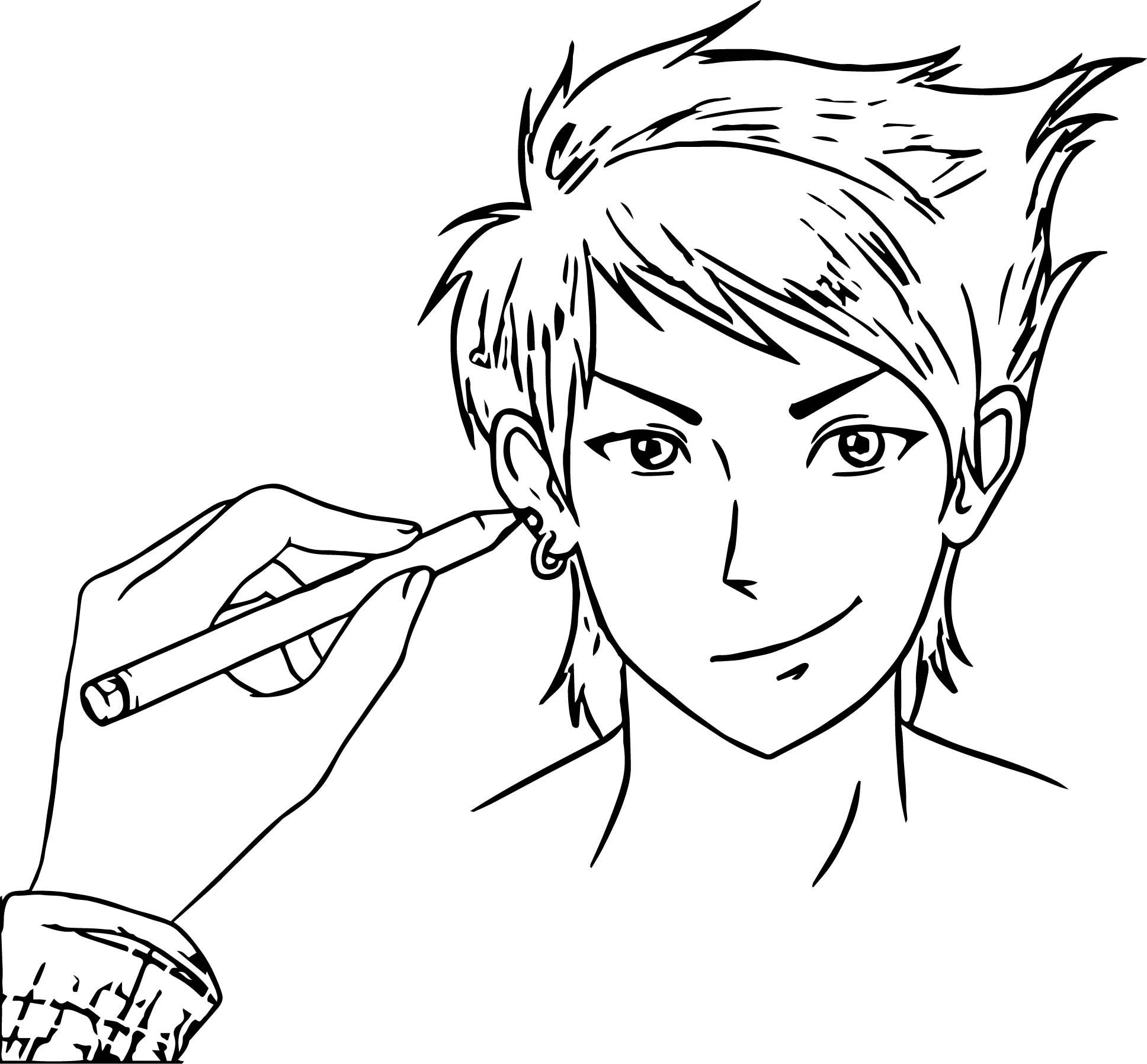 Drawing Manga Boy Coloring Page