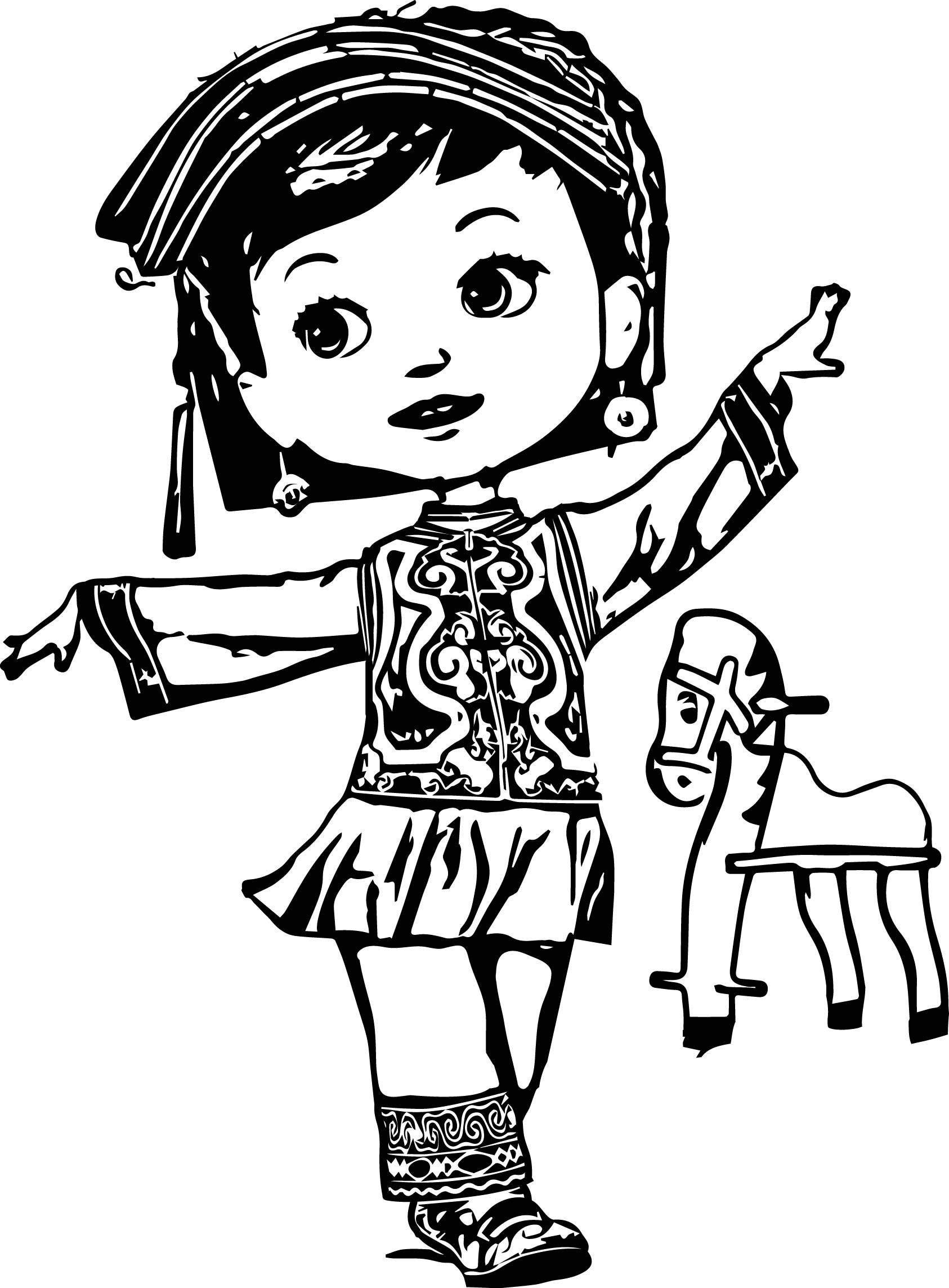 Elegant Dancing Cartoon Dancing Child Girl Picture Image Digital Art Coloring Page