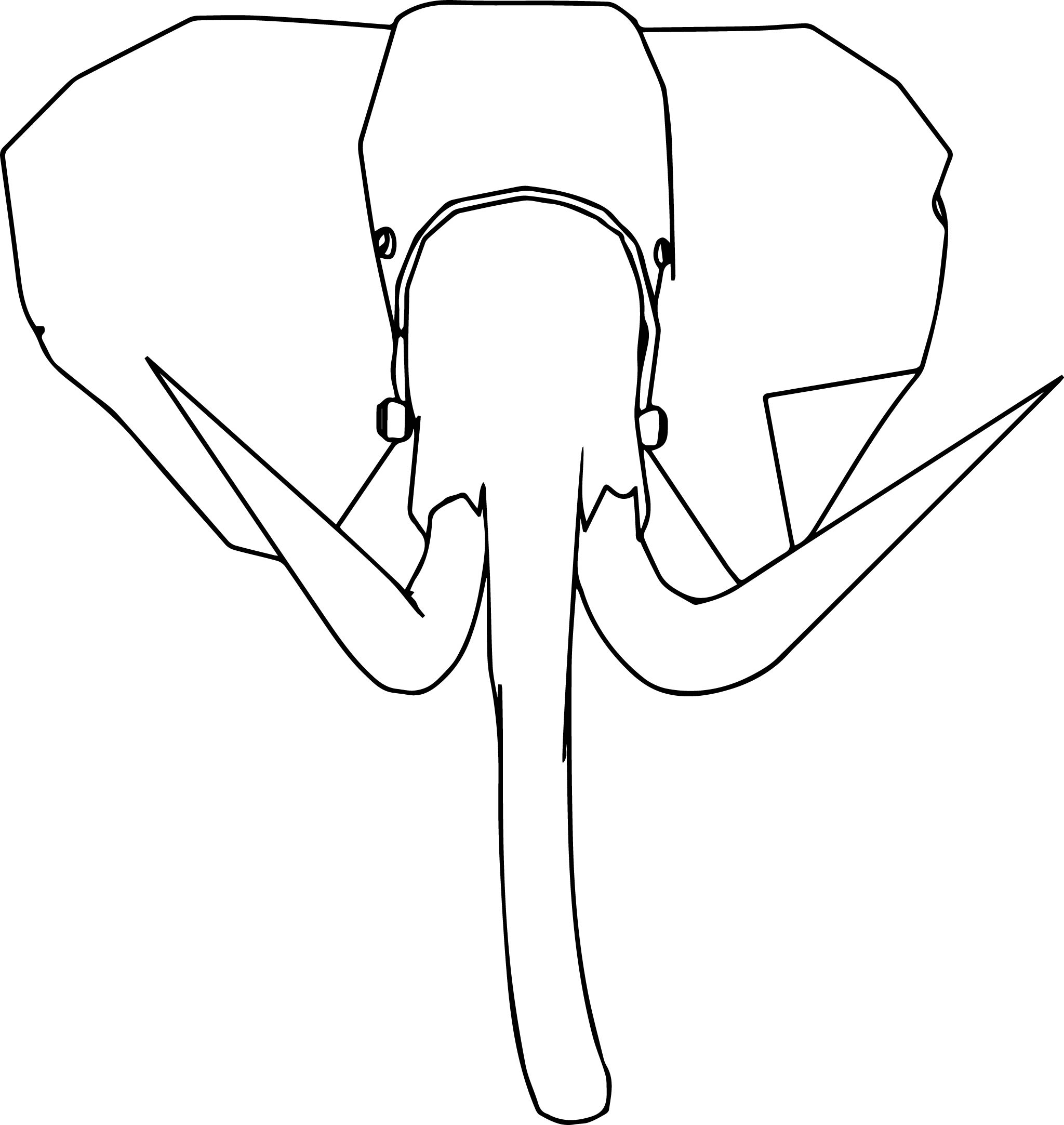 Elephant Spikes Face Coloring Page