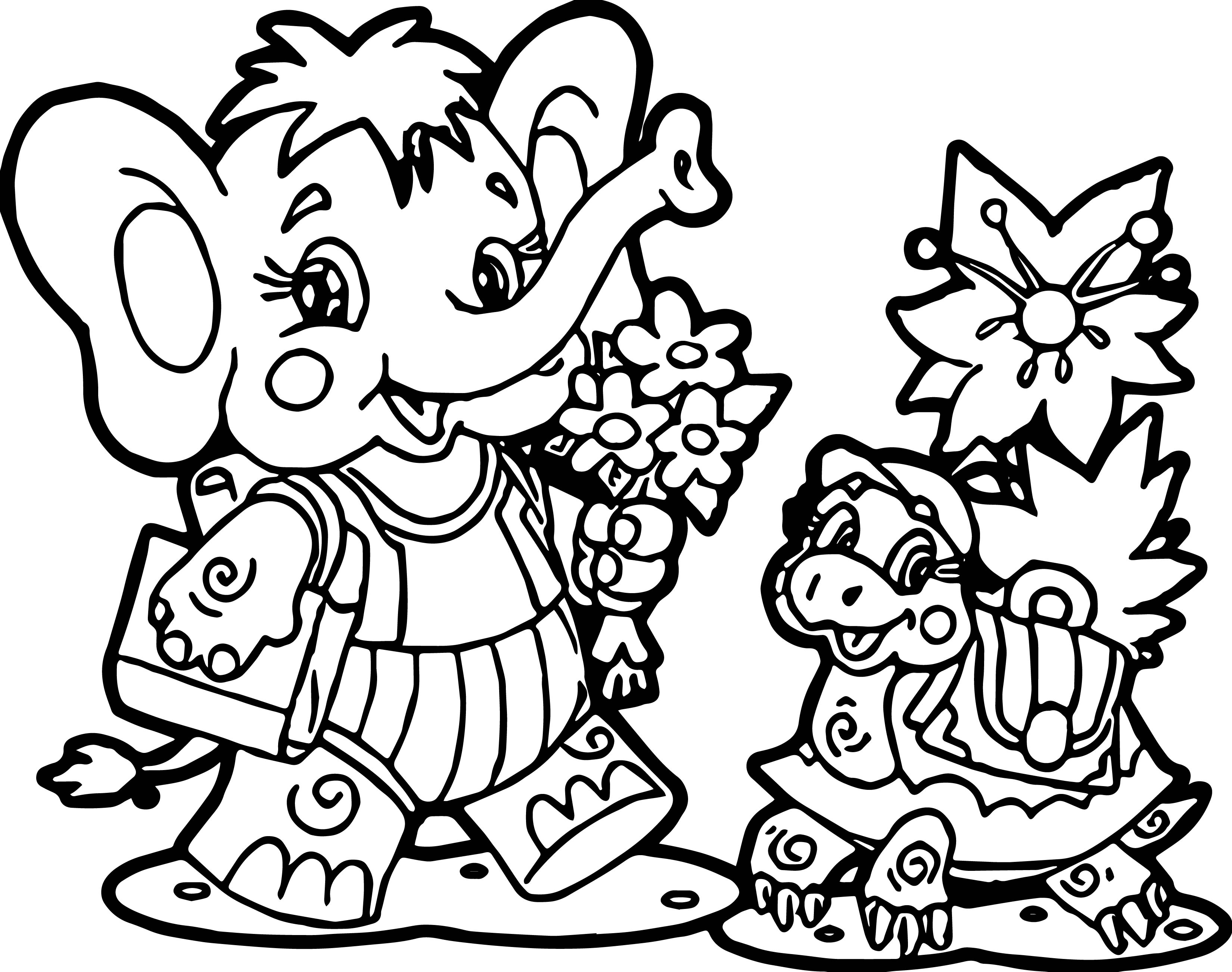 Elephant Turtle Coloring Page