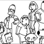 Family Guy And The Simpsons Crossover Coloring Page