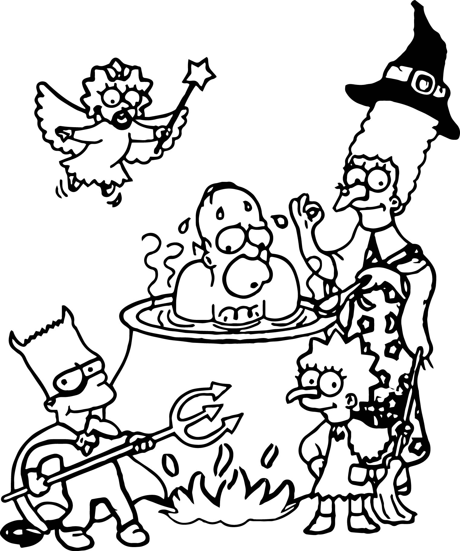 halloween queen gina the simpsons coloring page - Simpsons Halloween Coloring Pages