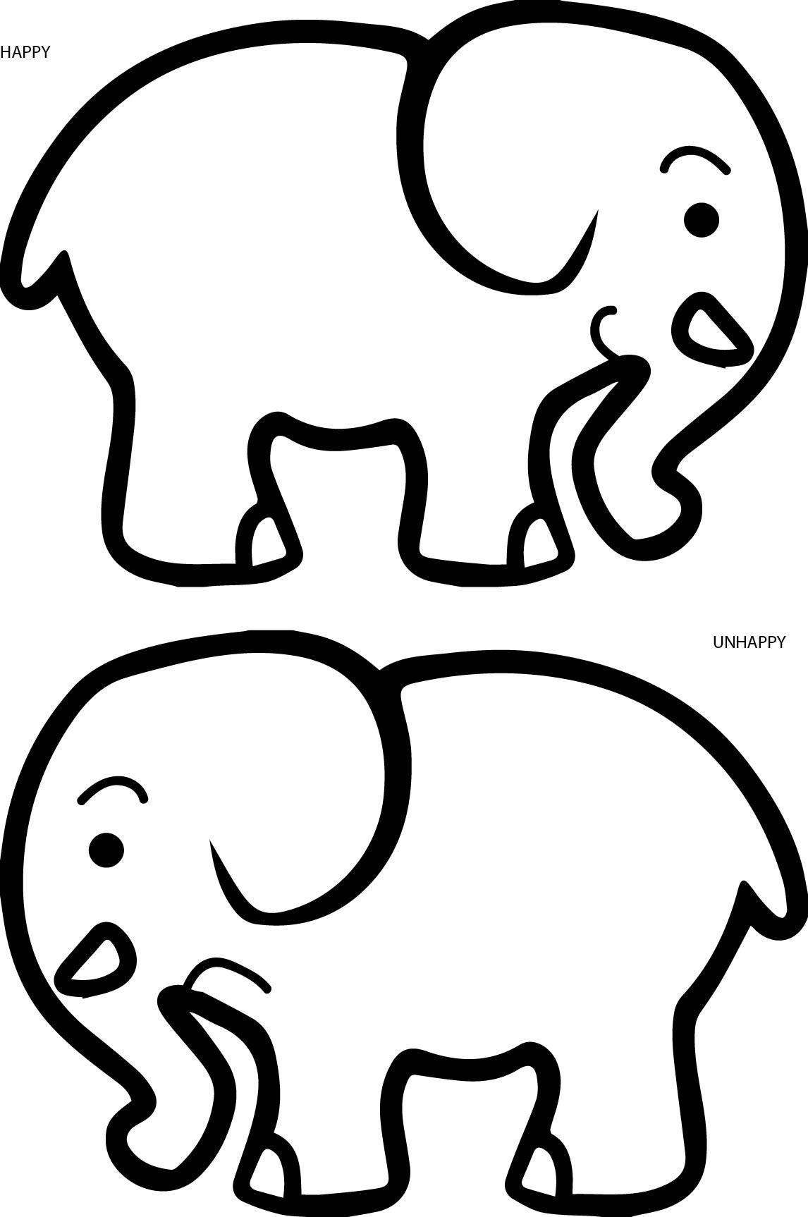 Happy Unhappy Elephant Coloring Page