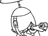 Helicopter Tortoise Turtle Coloring Page