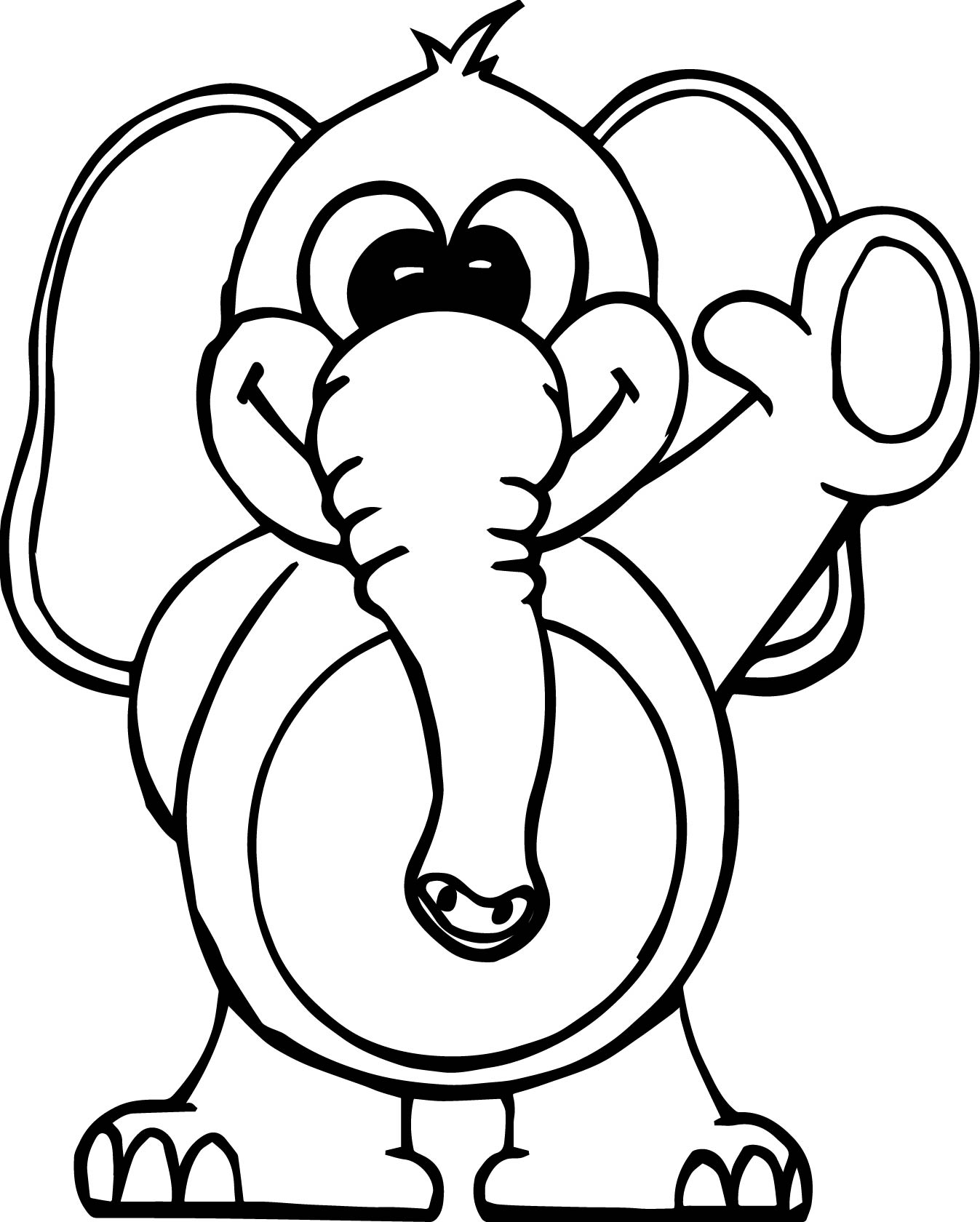 Hello Elephant Coloring Page