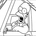 Homer Simpson In The Car Scream Coloring Page